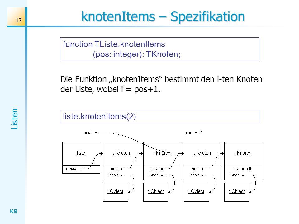 KB Listen 13 knotenItems – Spezifikation liste.knotenItems(2) Die Funktion knotenItems bestimmt den i-ten Knoten der Liste, wobei i = pos+1.