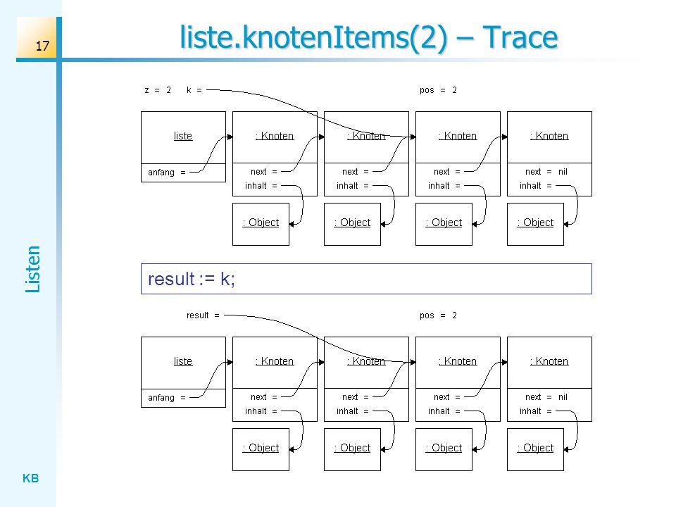 KB Listen 17 liste.knotenItems(2) – Trace result := k;