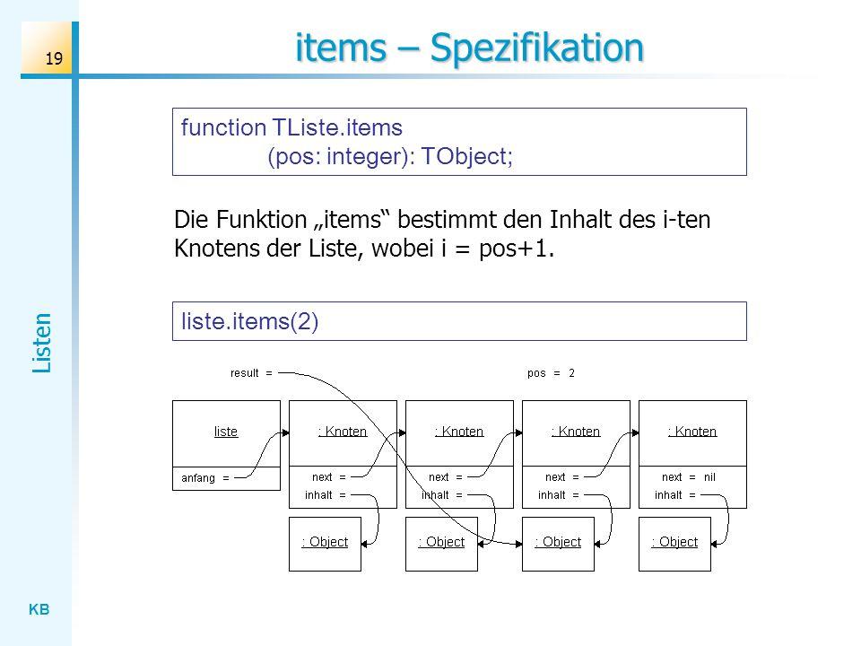 KB Listen 19 items – Spezifikation liste.items(2) Die Funktion items bestimmt den Inhalt des i-ten Knotens der Liste, wobei i = pos+1.