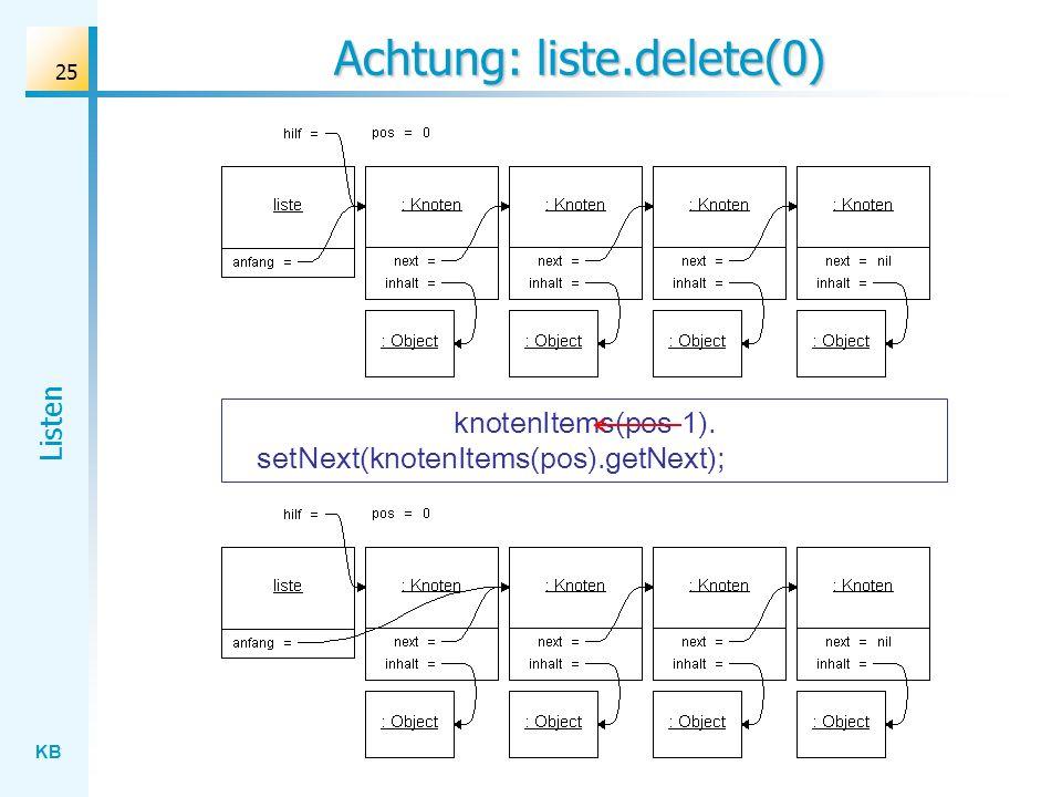 KB Listen 25 Achtung: liste.delete(0) knotenItems(pos-1). setNext(knotenItems(pos).getNext);
