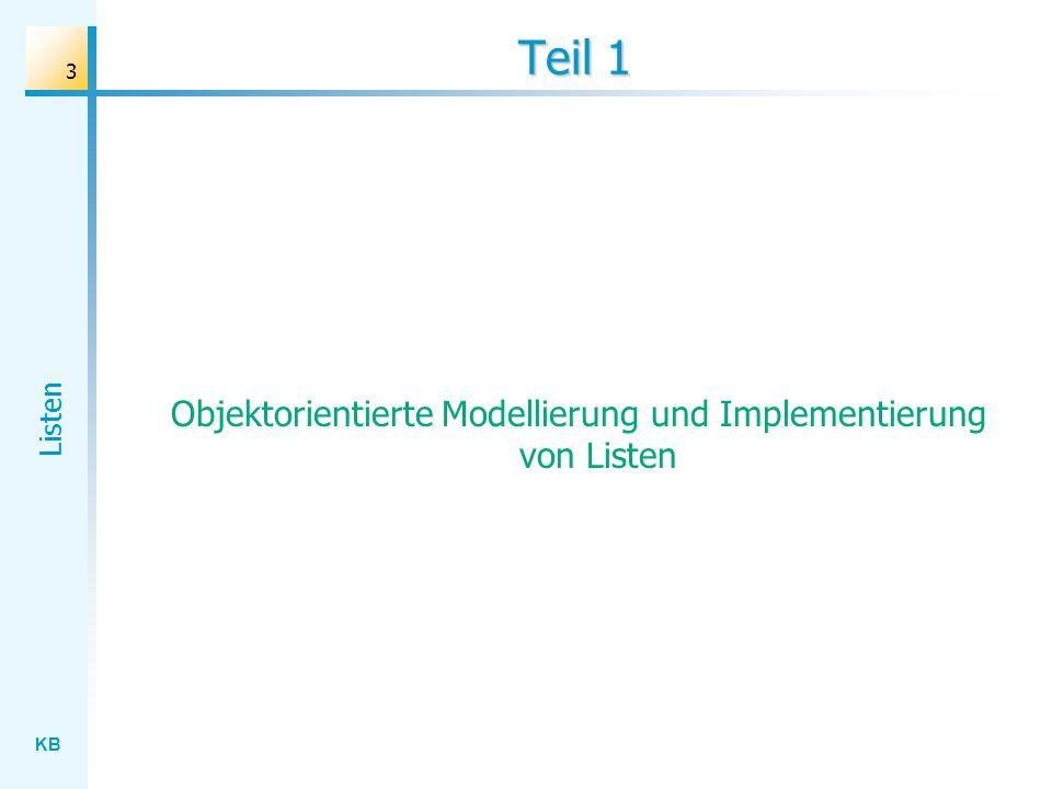 KB Listen 3 Teil 1 Objektorientierte Modellierung und Implementierung von Listen
