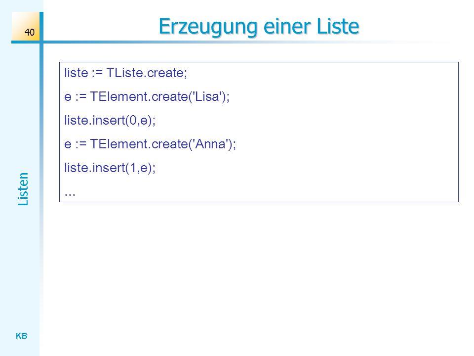 KB Listen 40 Erzeugung einer Liste liste := TListe.create; e := TElement.create( Lisa ); liste.insert(0,e); e := TElement.create( Anna ); liste.insert(1,e);...