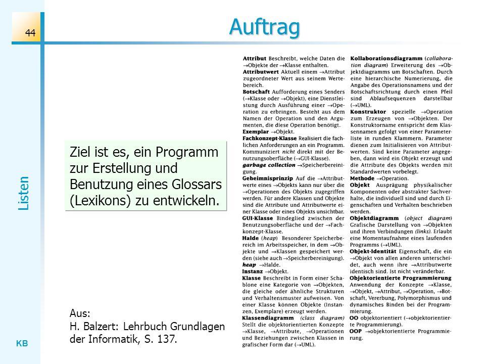 KB Listen 44 Auftrag Aus: H. Balzert: Lehrbuch Grundlagen der Informatik, S.