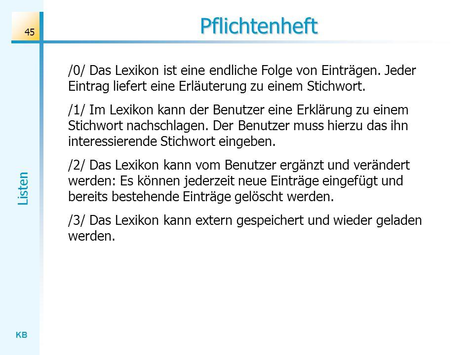 KB Listen 45 Pflichtenheft /0/ Das Lexikon ist eine endliche Folge von Einträgen.
