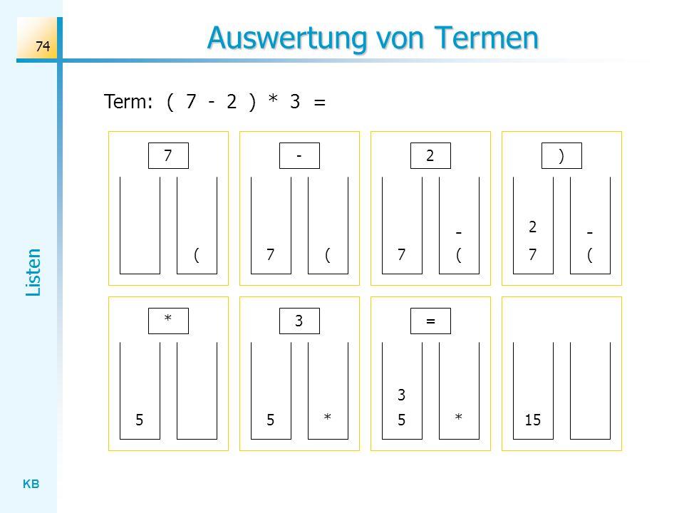 KB Listen 74 Auswertung von Termen Term:( 7 - 2 ) * 3 = 7 ( - (7 2 (7 - ) * 5 3 *5 (7 - 2 = *5 3 15