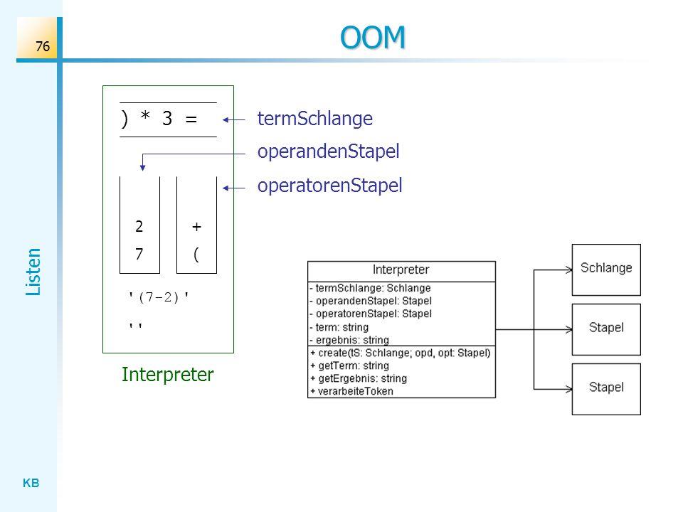 KB Listen 76 OOM ) * 3 = ( + 7 2 Interpreter (7-2) termSchlange operandenStapel operatorenStapel