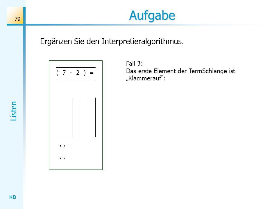 KB Listen 79 Aufgabe Fall 3: Das erste Element der TermSchlange ist Klammerauf: Ergänzen Sie den Interpretieralgorithmus.