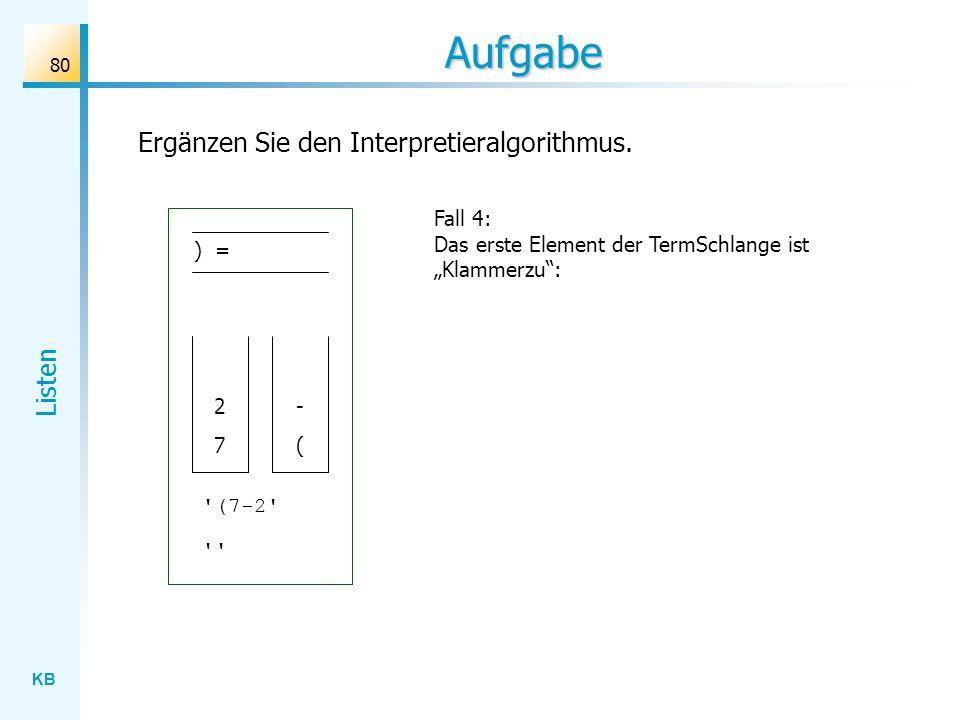 KB Listen 80 Aufgabe Fall 4: Das erste Element der TermSchlange ist Klammerzu: Ergänzen Sie den Interpretieralgorithmus.