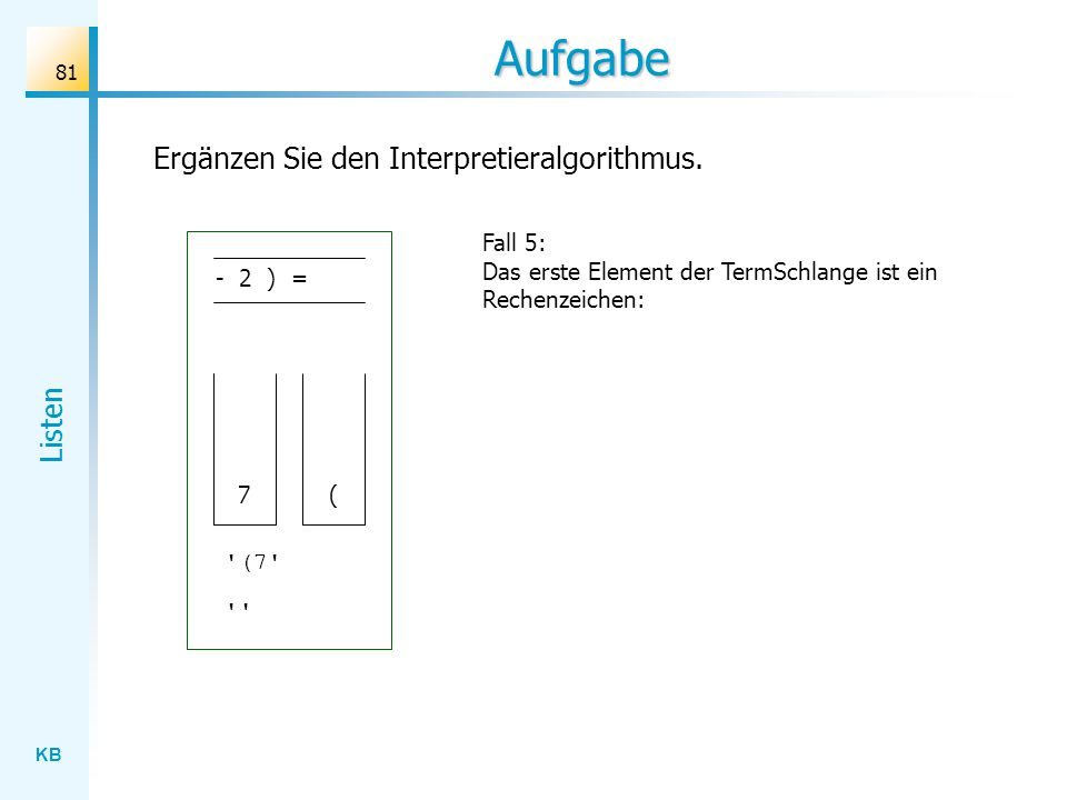 KB Listen 81 Aufgabe Fall 5: Das erste Element der TermSchlange ist ein Rechenzeichen: Ergänzen Sie den Interpretieralgorithmus.