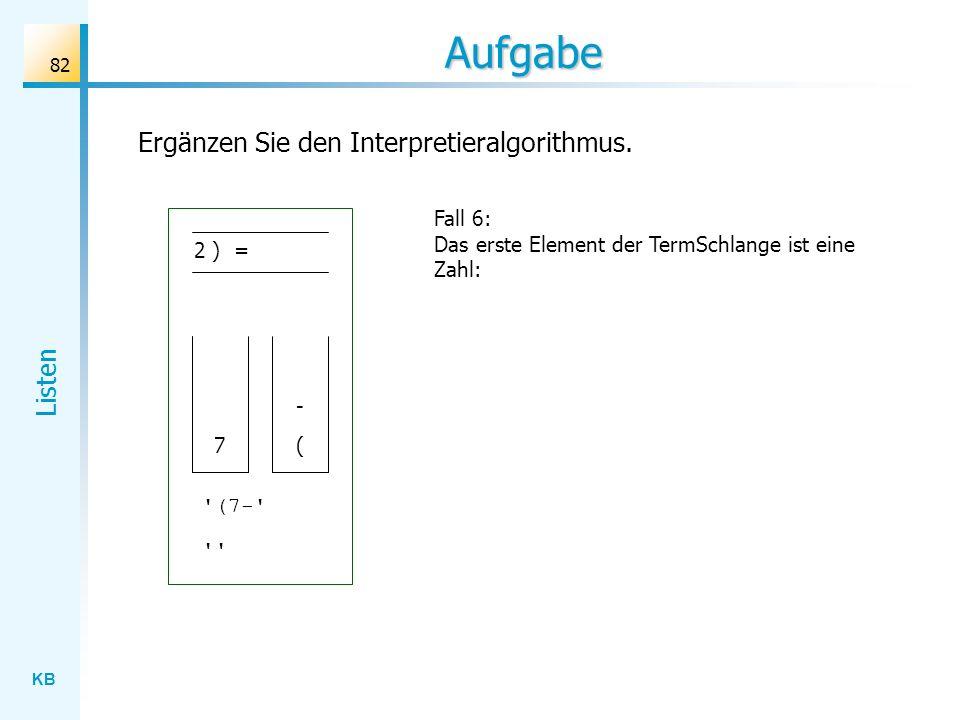 KB Listen 82 Aufgabe Fall 6: Das erste Element der TermSchlange ist eine Zahl: Ergänzen Sie den Interpretieralgorithmus.