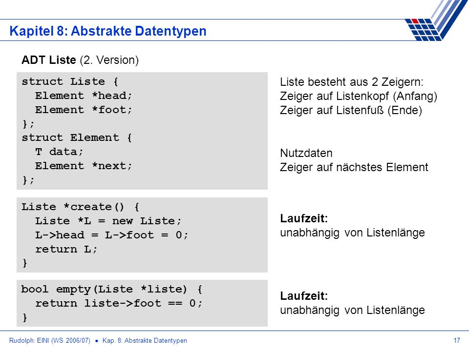 Rudolph: EINI (WS 2006/07) Kap. 8: Abstrakte Datentypen17 Kapitel 8: Abstrakte Datentypen ADT Liste (2. Version) struct Liste { Element *head; Element