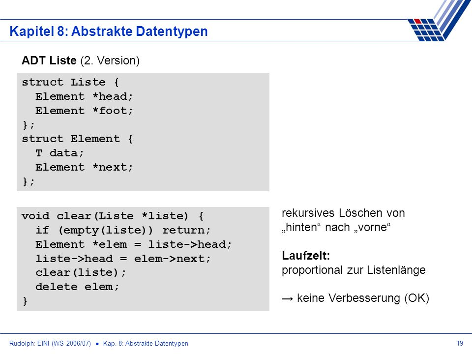 Rudolph: EINI (WS 2006/07) Kap. 8: Abstrakte Datentypen19 Kapitel 8: Abstrakte Datentypen ADT Liste (2. Version) struct Liste { Element *head; Element