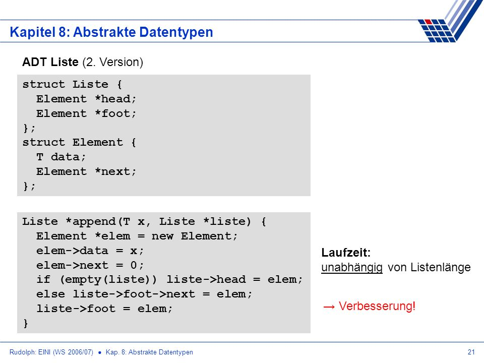 Rudolph: EINI (WS 2006/07) Kap. 8: Abstrakte Datentypen21 Kapitel 8: Abstrakte Datentypen ADT Liste (2. Version) struct Liste { Element *head; Element