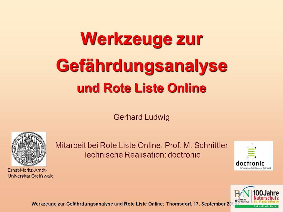 Werkzeuge zur Gefährdungsanalyse und Rote Liste Online; Thomsdorf, 17. September 2006 Werkzeuge zur Gefährdungsanalyse und Rote Liste Online Gerhard L