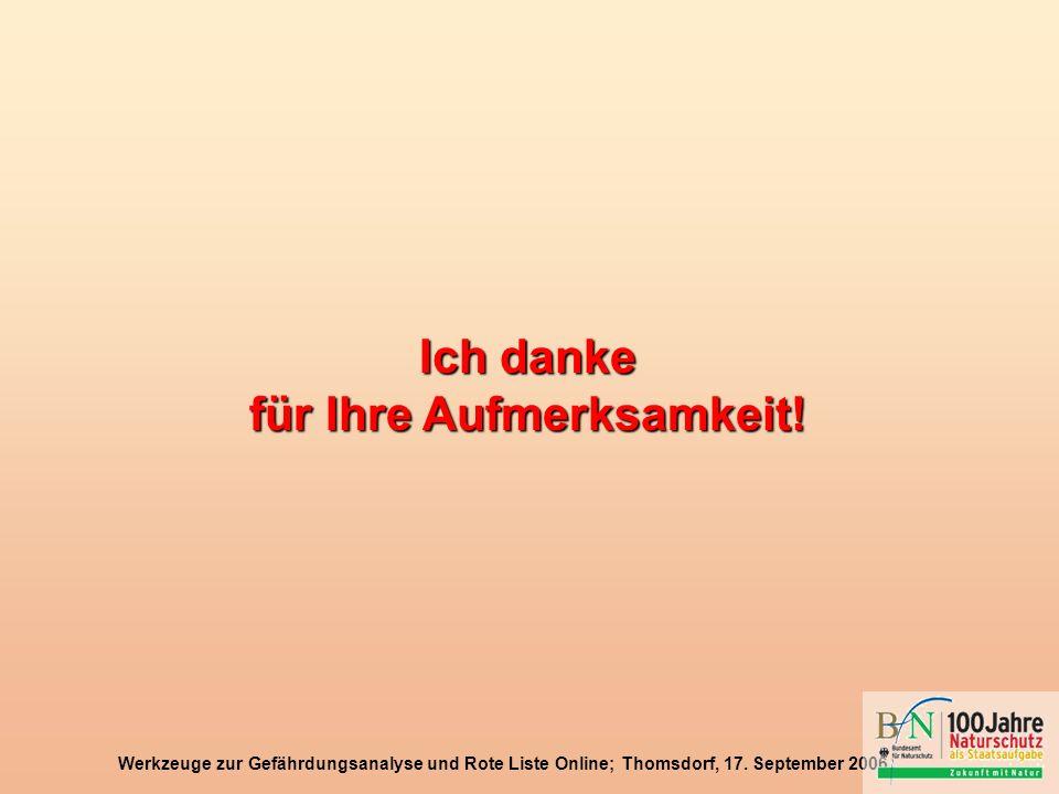 Werkzeuge zur Gefährdungsanalyse und Rote Liste Online; Thomsdorf, 17. September 2006 Ich danke für Ihre Aufmerksamkeit!