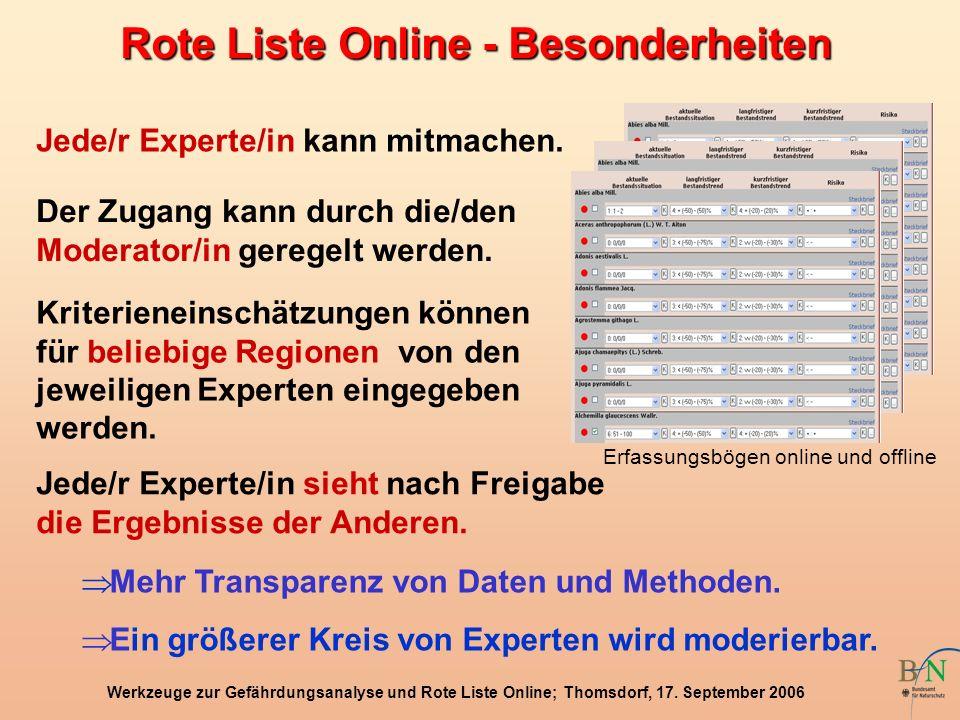 Werkzeuge zur Gefährdungsanalyse und Rote Liste Online; Thomsdorf, 17. September 2006 Rote Liste Online - Besonderheiten Jede/r Experte/in kann mitmac