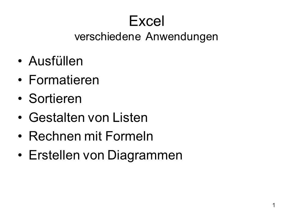 1 Excel verschiedene Anwendungen Ausfüllen Formatieren Sortieren Gestalten von Listen Rechnen mit Formeln Erstellen von Diagrammen