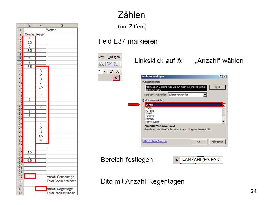 24 Zählen Linksklick auf fx Feld E37 markieren ( nur Ziffern) Bereich festlegen Dito mit Anzahl Regentagen Anzahl wählen
