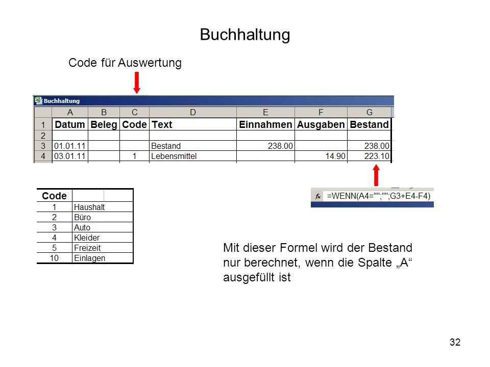 32 Buchhaltung Code für Auswertung Mit dieser Formel wird der Bestand nur berechnet, wenn die Spalte A ausgefüllt ist