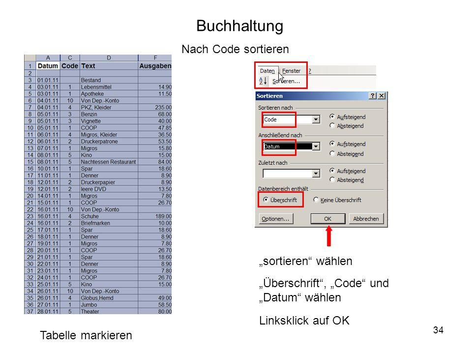 34 Buchhaltung Tabelle markieren Nach Code sortieren sortieren wählen Überschrift, Code und Datum wählen Linksklick auf OK