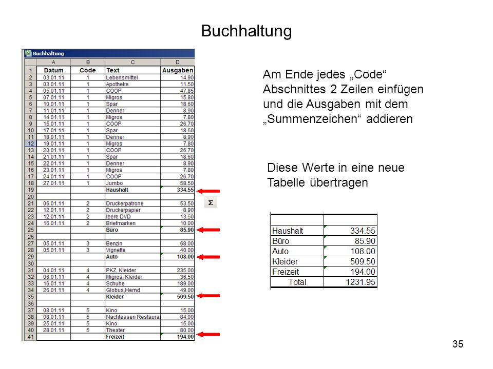 35 Buchhaltung Am Ende jedes Code Abschnittes 2 Zeilen einfügen und die Ausgaben mit dem Summenzeichen addieren Diese Werte in eine neue Tabelle übertragen