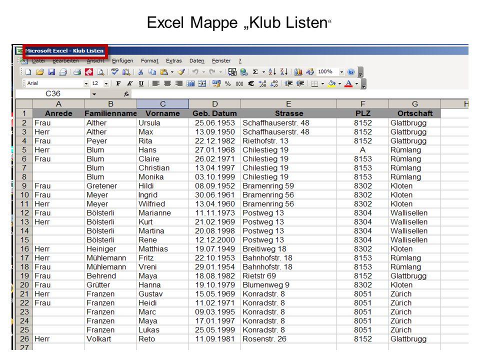 8 Excel Mappe Klub Listen