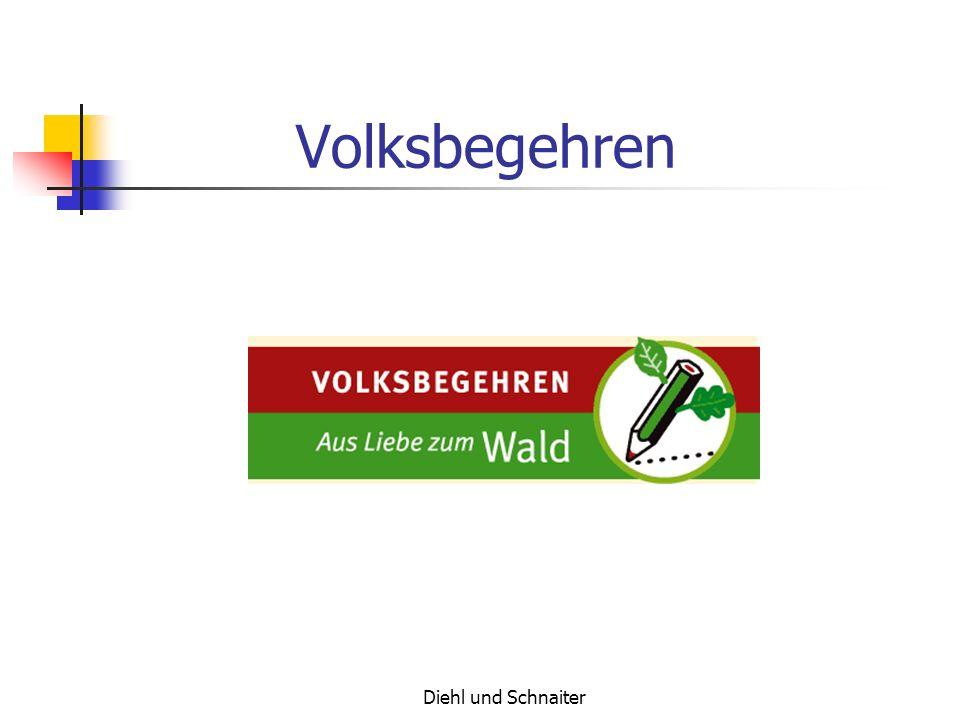 Diehl und Schnaiter Volksbegehren Minister Präsident Stoiber hat vor, den Wald zu privatisieren.