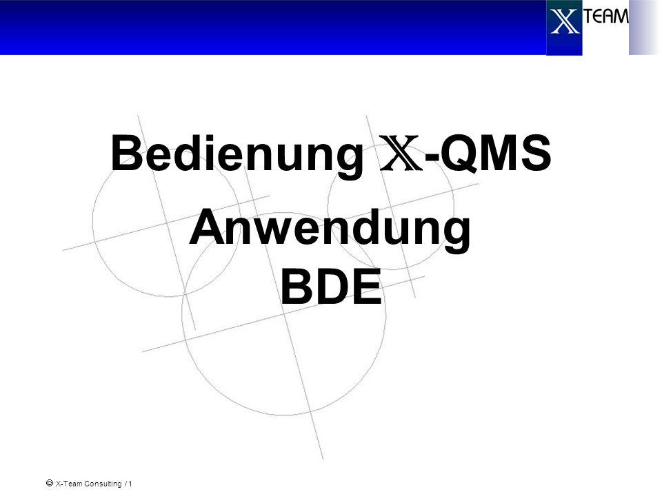 X-Team Consulting / 12 Verkette Maschinen/Aggregate II (1) In X-QMS können verkette Maschinen abgebildet werden, die untereinander Daten austauschen und sich synchronisieren: Beispiel 2: Glühofen Abkühlen Prüfen und Sortieren Durchlaufaggregat: es können mehrere FA/AVOs angemeldet werden Anmelden FA/AVO Zeiten und Mengen werden nicht an SAP gemeldet Ggfs.