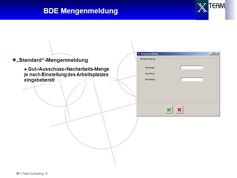 X-Team Consulting / 5 Standard-Mengenmeldung Gut-/Ausschuss-/Nacharbeits-Menge je nach Einstellung des Arbeitsplatzes eingabebereit BDE Mengenmeldung