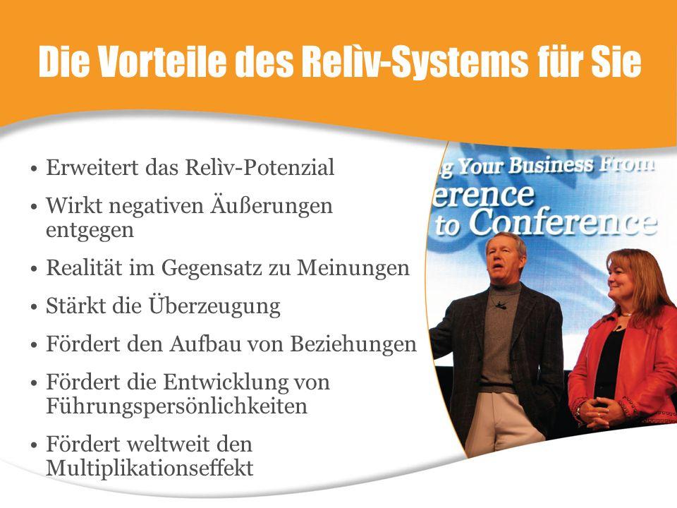 Die Vorteile des Relìv-Systems für Sie Erweitert das Relìv-Potenzial Wirkt negativen Äußerungen entgegen Realität im Gegensatz zu Meinungen Stärkt die Überzeugung Fördert den Aufbau von Beziehungen Fördert die Entwicklung von Führungspersönlichkeiten Fördert weltweit den Multiplikationseffekt