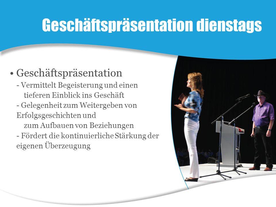 Geschäftspräsentation - Vermittelt Begeisterung und einen tieferen Einblick ins Geschäft - Gelegenheit zum Weitergeben von Erfolgsgeschichten und zum