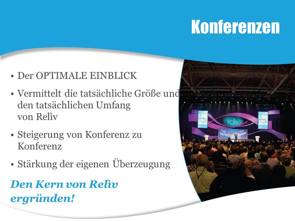 Der OPTIMALE EINBLICK Vermittelt die tatsächliche Größe und den tatsächlichen Umfang von Relìv Steigerung von Konferenz zu Konferenz Stärkung der eigenen Überzeugung Konferenzen Den Kern von Relìv ergründen!