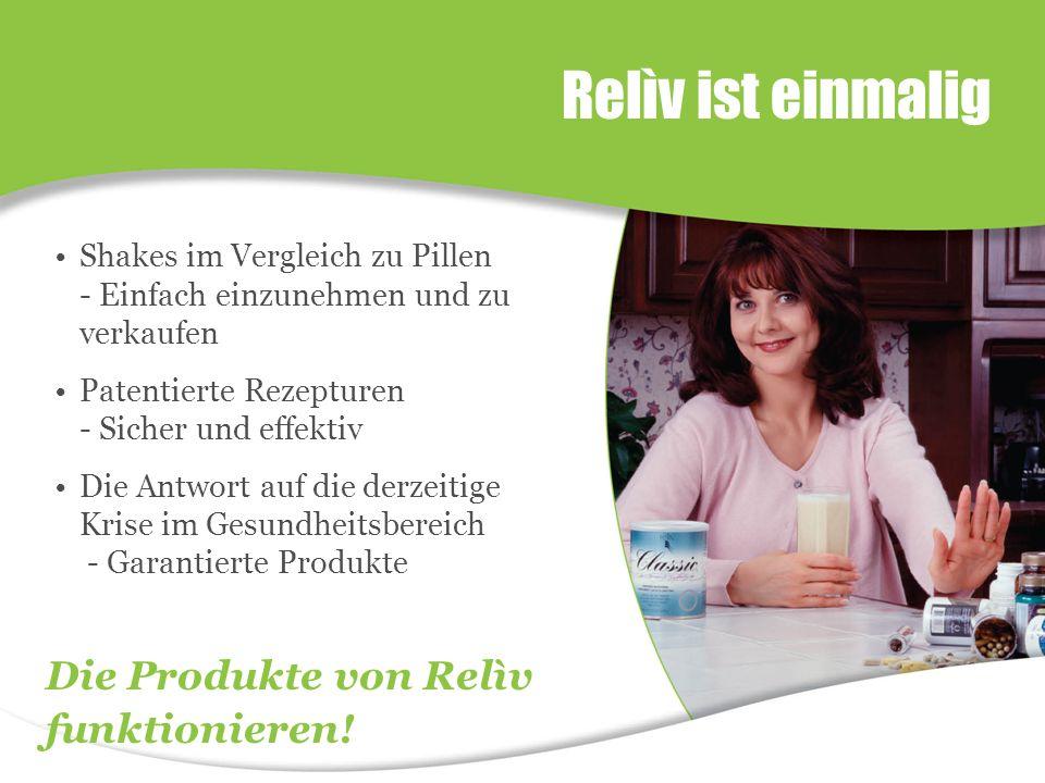 Relìv ist einmalig Shakes im Vergleich zu Pillen - Einfach einzunehmen und zu verkaufen Patentierte Rezepturen - Sicher und effektiv Die Antwort auf die derzeitige Krise im Gesundheitsbereich - Garantierte Produkte Die Produkte von Relìv funktionieren!