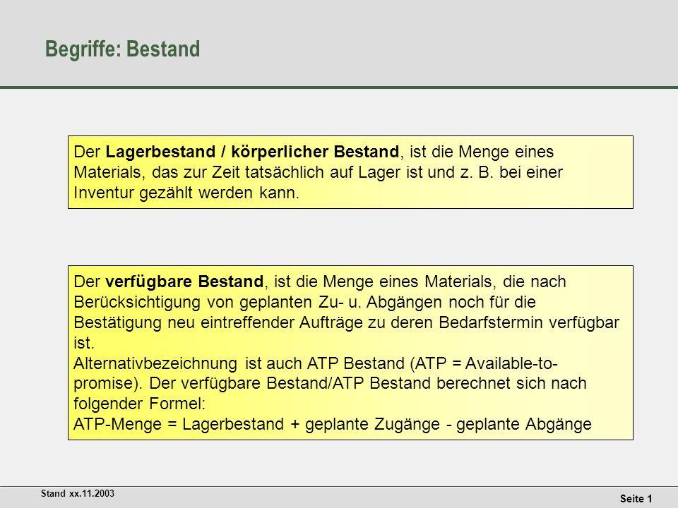 Seite 2 Stand xx.11.2003 Begriffe: verfügbarer Bestand Der verfügbare Bestand ermittelt sich auf der Zeitachse ausgehend von dem aktuellen Lagerbestand abzüglich der geplanten Abgänge zuzüglich der geplanten Zugänge.