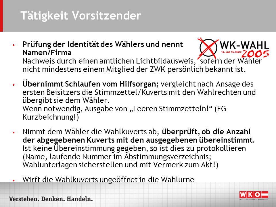 Tätigkeit Vorsitzender Prüfung der Identität des Wählers und nennt Namen/Firma Nachweis durch einen amtlichen Lichtbildausweis, sofern der Wähler nich