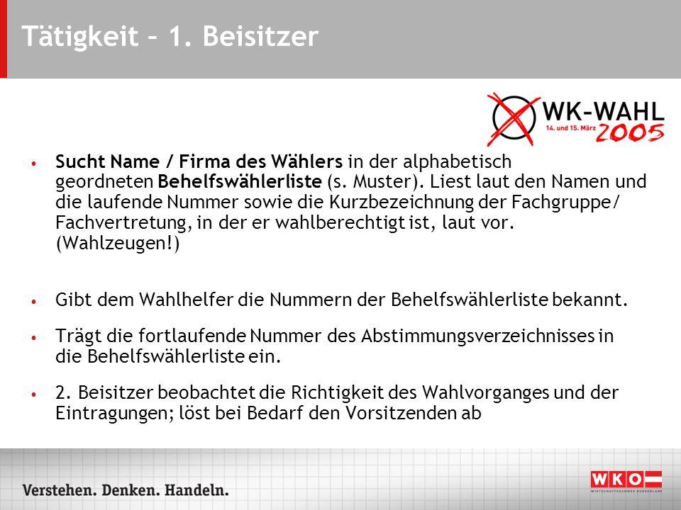 Tätigkeit – 1. Beisitzer Sucht Name / Firma des Wählers in der alphabetisch geordneten Behelfswählerliste (s. Muster). Liest laut den Namen und die la
