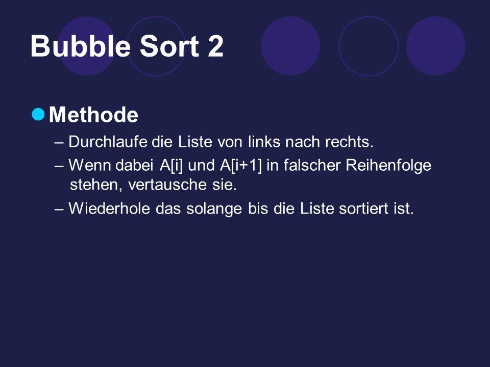 Bubble Sort 2 Methode – Durchlaufe die Liste von links nach rechts.