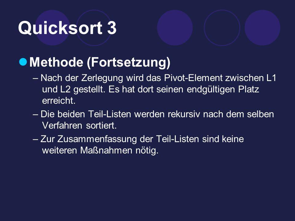Quicksort 3 Methode (Fortsetzung) – Nach der Zerlegung wird das Pivot-Element zwischen L1 und L2 gestellt.