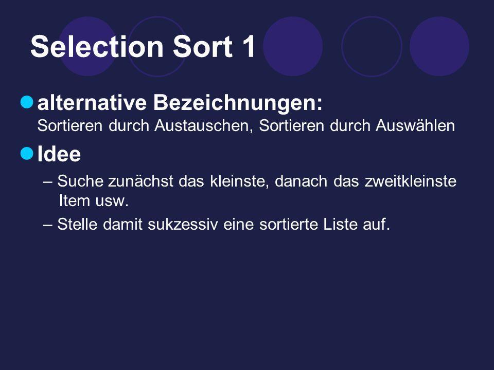 Selection Sort 1 alternative Bezeichnungen: Sortieren durch Austauschen, Sortieren durch Auswählen Idee – Suche zunächst das kleinste, danach das zweitkleinste Item usw.