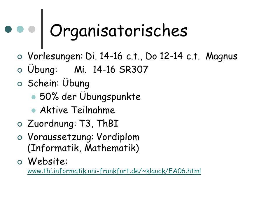 Organisatorisches Vorlesungen: Di.14-16 c.t., Do 12-14 c.t.