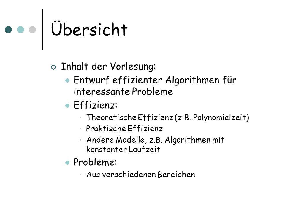 Übersicht Probleme: Graphprobleme Optimierungsprobleme Geometrische Probleme Online-Probleme Techniken: Randomisierung Approximation Greedy Algorithmen Divide and Conquer Dynamisches Programmieren...