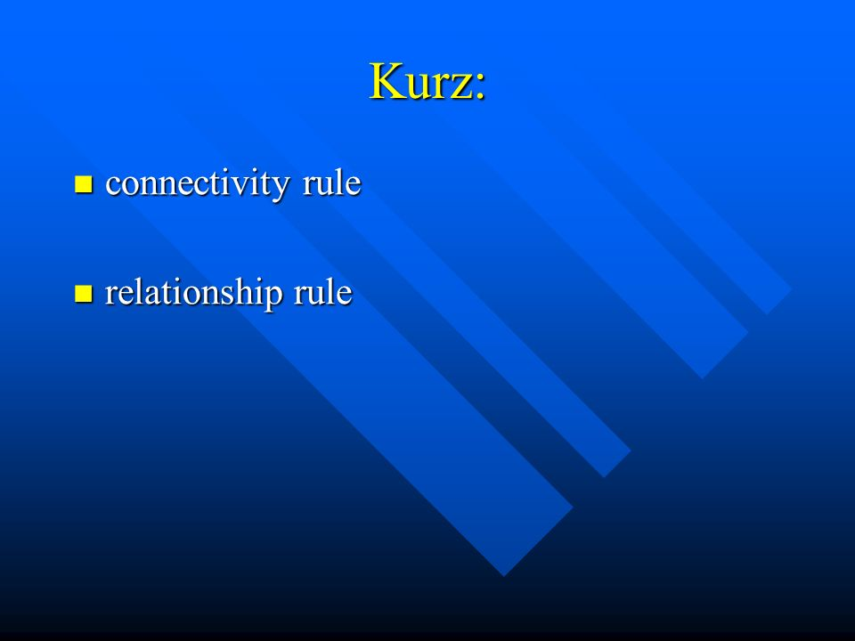 Kurz: connectivity rule connectivity rule relationship rule relationship rule