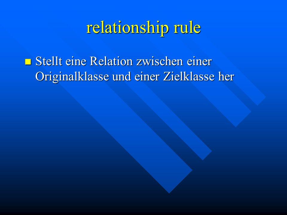 relationship rule Stellt eine Relation zwischen einer Originalklasse und einer Zielklasse her Stellt eine Relation zwischen einer Originalklasse und einer Zielklasse her
