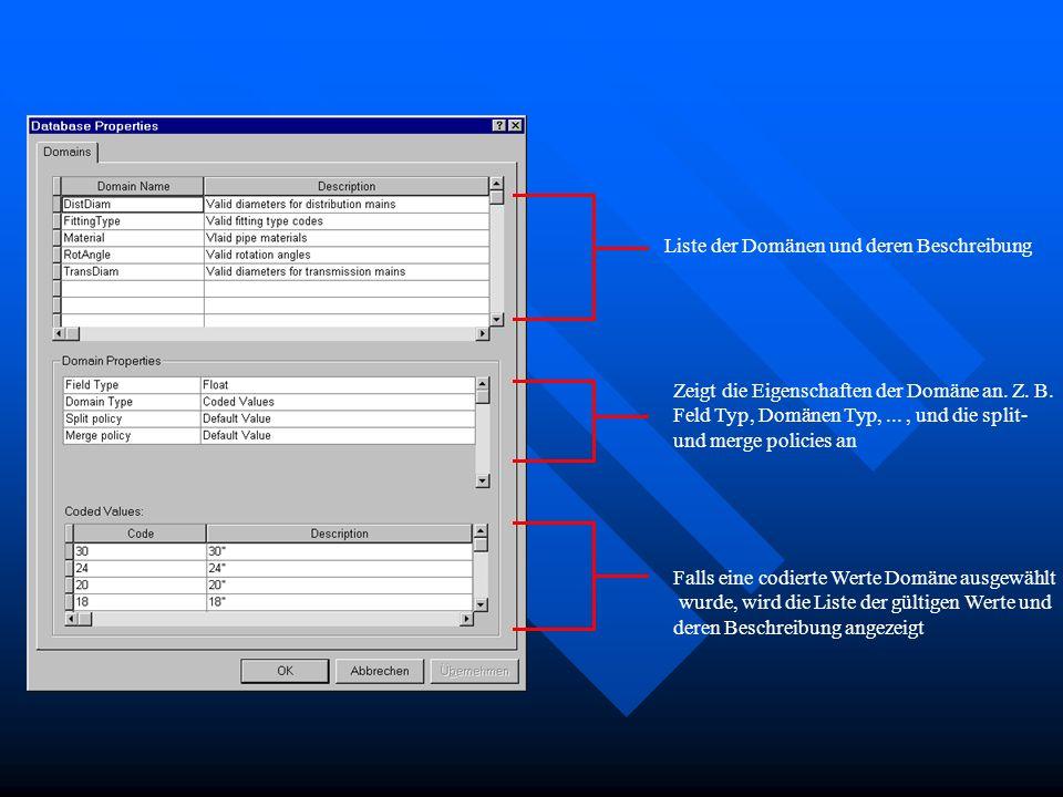 Liste der Domänen und deren Beschreibung Zeigt die Eigenschaften der Domäne an. Z. B. Feld Typ, Domänen Typ,..., und die split- und merge policies an