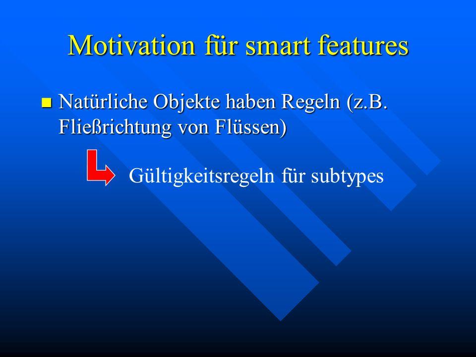 Motivation für smart features Natürliche Objekte haben Regeln (z.B. Fließrichtung von Flüssen) Natürliche Objekte haben Regeln (z.B. Fließrichtung von