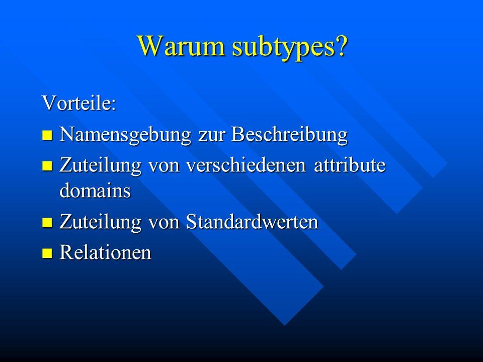 Warum subtypes? Vorteile: Namensgebung zur Beschreibung Namensgebung zur Beschreibung Zuteilung von verschiedenen attribute domains Zuteilung von vers
