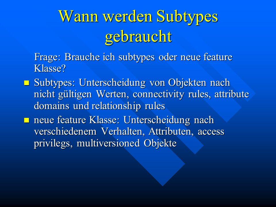 Wann werden Subtypes gebraucht Frage: Brauche ich subtypes oder neue feature Klasse? Frage: Brauche ich subtypes oder neue feature Klasse? Subtypes: U