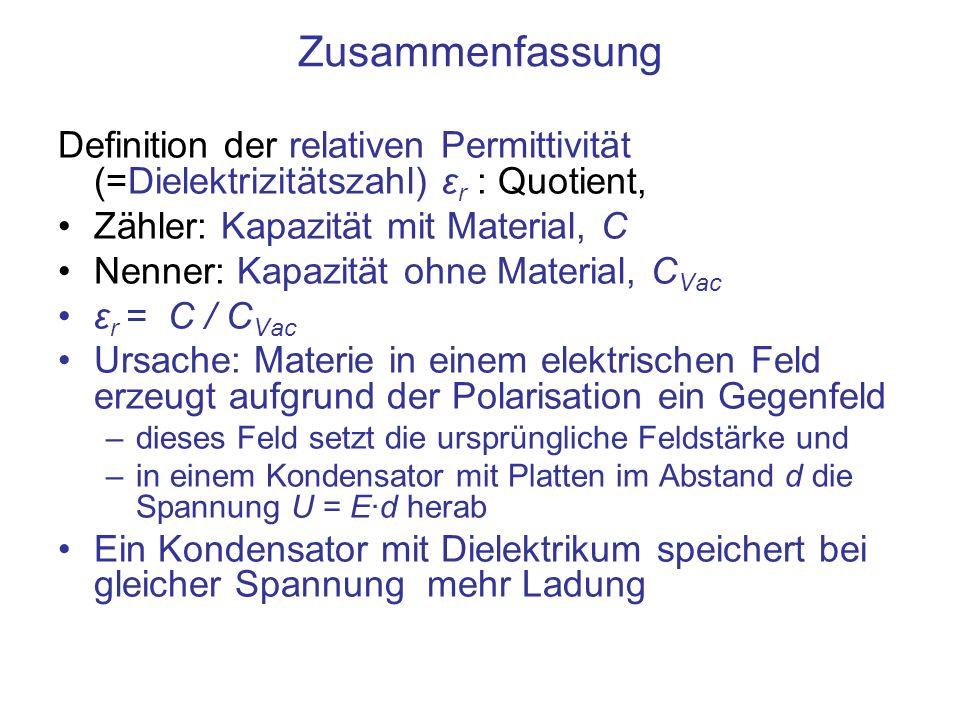 Zusammenfassung Definition der relativen Permittivität (=Dielektrizitätszahl) ε r : Quotient, Zähler: Kapazität mit Material, C Nenner: Kapazität ohne