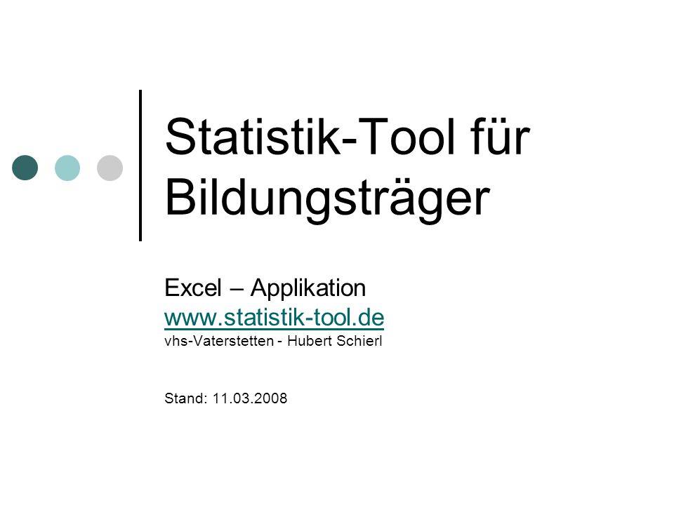 Statistik-Tool für Bildungsträger Excel – Applikation www.statistik-tool.de vhs-Vaterstetten - Hubert Schierl Stand: 11.03.2008