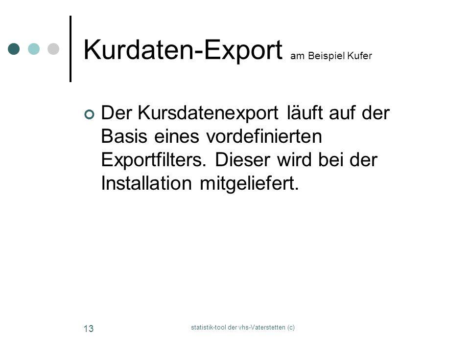 statistik-tool der vhs-Vaterstetten (c) 13 Kurdaten-Export am Beispiel Kufer Der Kursdatenexport läuft auf der Basis eines vordefinierten Exportfilter
